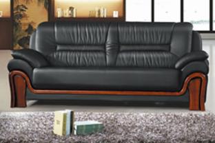 【南荣家具】办公室会客室沙发NR-F607西皮新中式三人位办公沙发茶几组合商务接待沙发