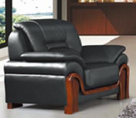 【南荣家具】办公室会客室沙发NR-F607-1西皮新中式一套单人位办公沙发茶几组合商务接待沙发