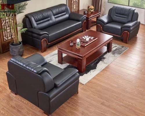 【南荣家具】沙发NR-T-301西皮新中式三人位办公沙发茶几组合商务接待沙发办公室会客室