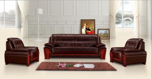 【南荣家具】沙发NR-ZSX-K043西皮新中式三人位办公沙发茶几组合商务接待沙发办公室会客室