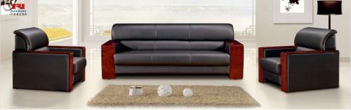 【南荣家具】沙发NR-T-302西皮新中式三人位办公沙发茶几组合商务接待沙发办公室会客室