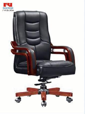 【南荣家具】班椅NRH2035西皮老板椅商务大班椅实木办公椅可升降转椅电脑椅