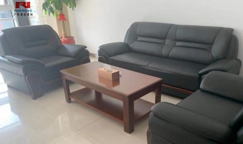 【南荣家具】沙发NR-F602西皮中式3+1办公沙发茶几组合商务接待沙发办公室会客室
